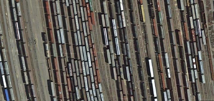 Minnesota railyard Minneapolis aerial